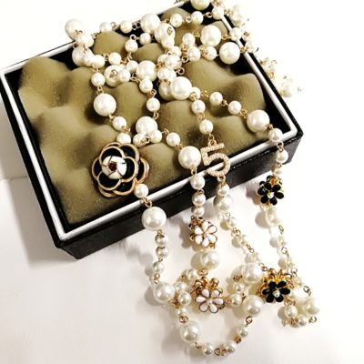 Long Simulated Pearl Necklace Double Layer