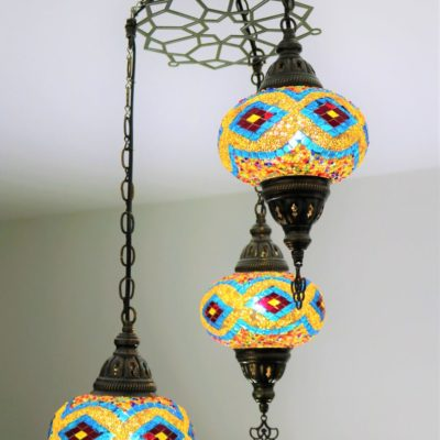 Set of 3 Colorful Mosaic Hanging Chandelier