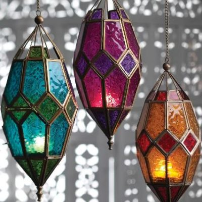 Colorful Hanging Glass Candle Lantern