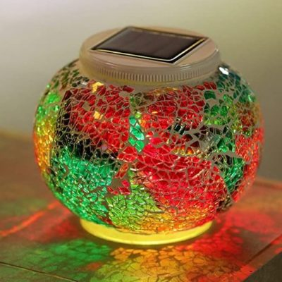 Solar-Powered Color-Changing Mosaic Ball