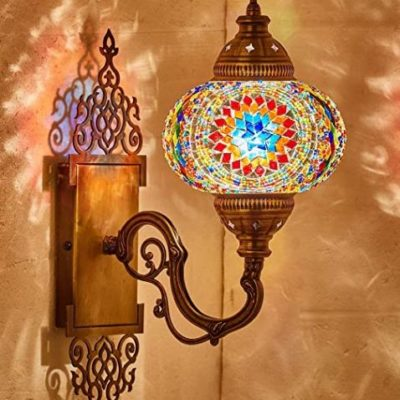 Tiffany-Style Moroccan Mosaic Wall Sconce