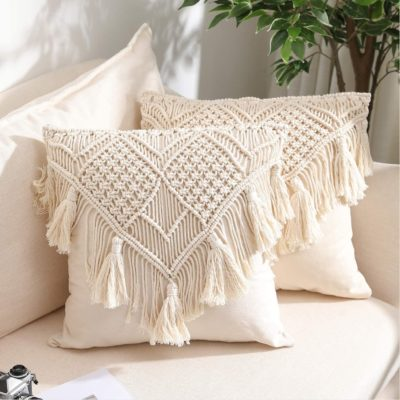 Set of 2 Decorative Woven Cushion Cover