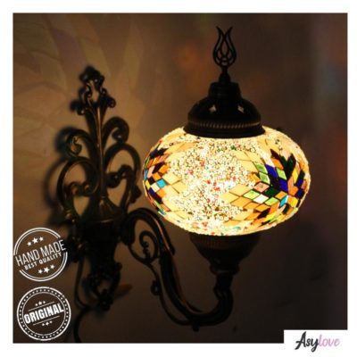 Handmade Stained Glass Mosaic Wall Lamp