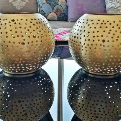 2 PC Moroccan Metal Candle Holders