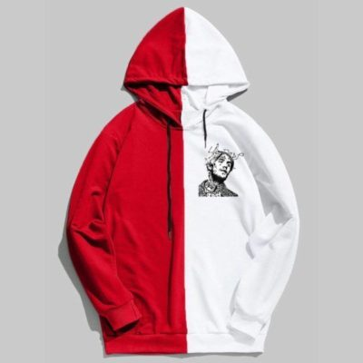 Lil Peep Graphic Half Colored Hoodie