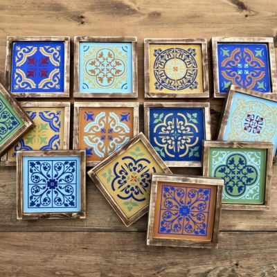 Custom Color Moroccan Tile Wall Art – Moroccan Style Wood Sign – 9.5″ x 9.5″