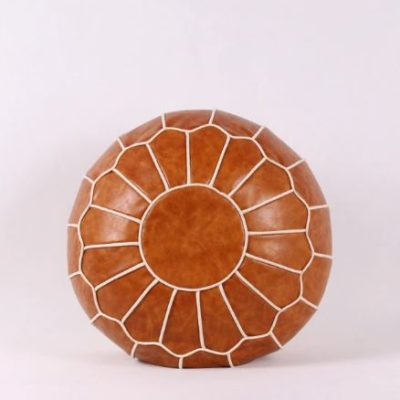 Round Moroccan Leather Pouf