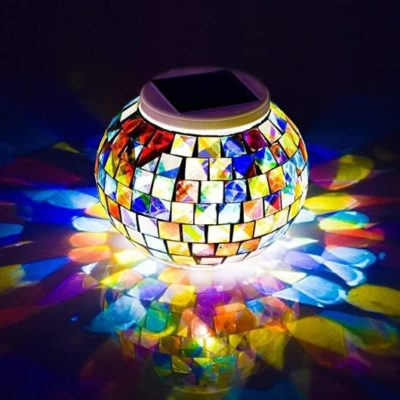 Color-Changing Solar Mosaic Glass Globe