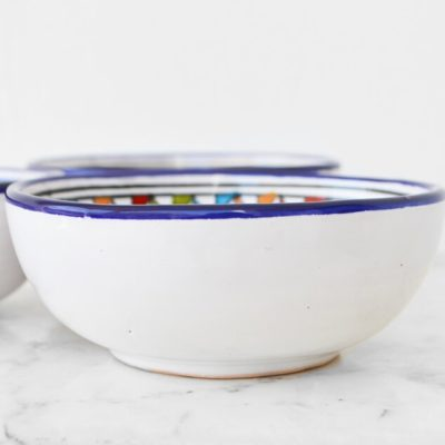 Set of 3 Colourful Hand Painted Moroccan / Tunisian Cereal Bowls