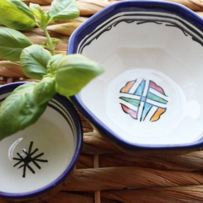 Moroccan Hand Painted Ceramic Dipping Bowl or Snack Bowl